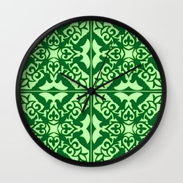 Moroccan Tile, Emerald and Pastel Green Wall Clock