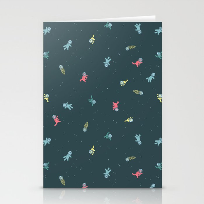Space Cats! tiling pattern Stationery Cards