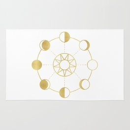 Gold Moon and Sun Phases Rug