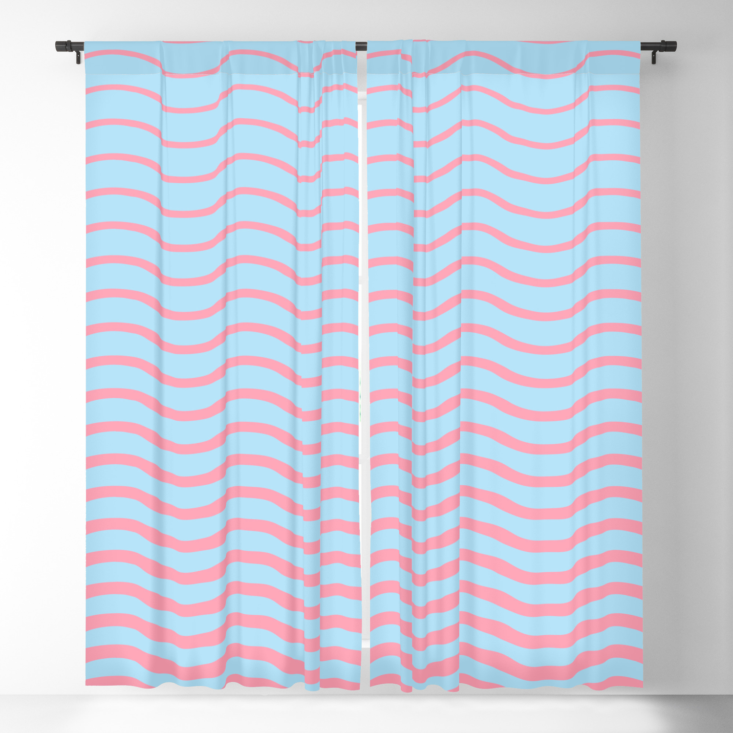 Waves Pattern Geometric Abstract Pink And Light Blue Blackout Curtain By Alma Design Society6