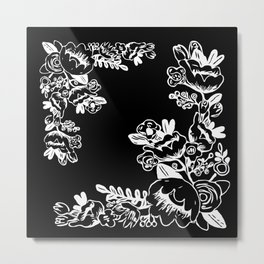 White Floral on Black Background Metal Print