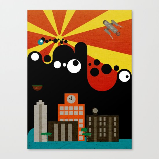 Black Blob Attack Canvas Print