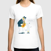 saxophone T-shirts featuring Man playing the saxophone by Wonderful Day