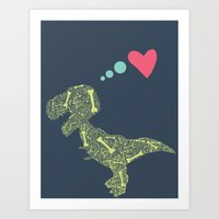 t rex Art Prints featuring T-Rex  by ChelseeTaylor