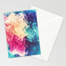 Geometry Triangle Wave Multicolor Mosaic Pattern - (HDR - Low Poly Art) Stationery Cards