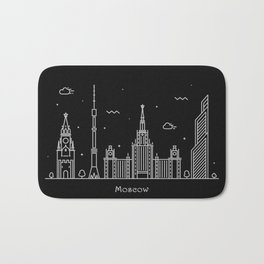 Moscow Minimal Nightscape / Skyline Drawing Bath Mat