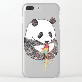 Panda Loves Ice Cream Clear iPhone Case