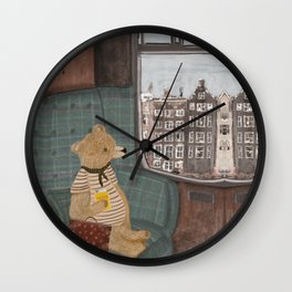 a new adventure for bear Wall Clock