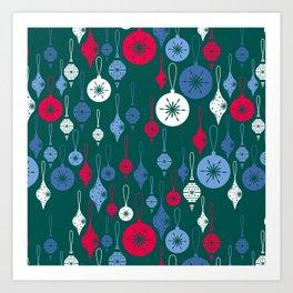Christmas Baubles - Green Art Print