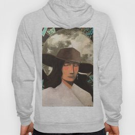 Portrait of A Southwestern Traveler with The Moon & Geometric Shapes In The Background Hoody