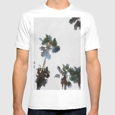 Tropical Palms Mens Fitted Tee White MEDIUM