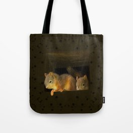 Young squirrels peering out of a nest #decor #society6 #buyart Tote Bag