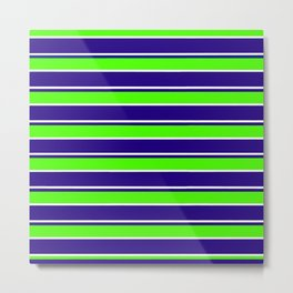 Nautical Stripes, Navy, Chartruce and White Metal Print
