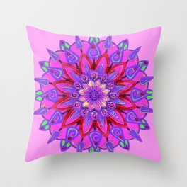 MANDALA OF PURPLE  & PINK ART DESIGN ART Throw Pillow