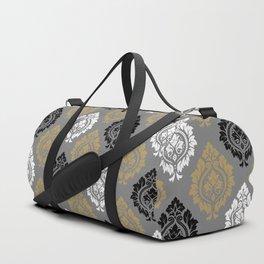 Decorative Damask Pattern BW Gray Ochre Duffle Bag