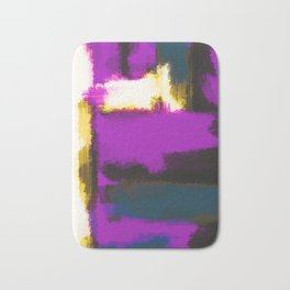 white pink and blue painting texture abstract with black background Bath Mat