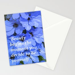 Beauty motivational quote, blue flowers Stationery Cards