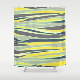 banana, mint and gray stripes  Shower Curtain