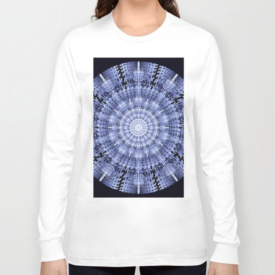 Grunge blue snowflake in a circle Long Sleeve T-shirt