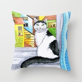 Black & White Cat at the Window Throw Pillow