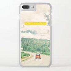 NEVER STOP EXPLORING - vintage volkswagen van Clear iPhone Case