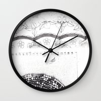 notebook Wall Clocks featuring Notebook Collage by Ellie And Ada