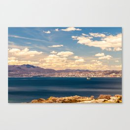Sunny day view from Krk island to the gulf of Rijeka Canvas Print