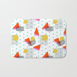 Bounce - abstract minimal retro throwback 1980s grid circle shapes memphis design pattern print art Bath Mat