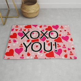 Valentine XOXO YOU Heart Pattern Rug
