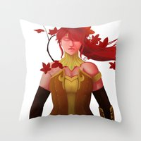 rwby Throw Pillows featuring The Fall Maiden by Bellalyse