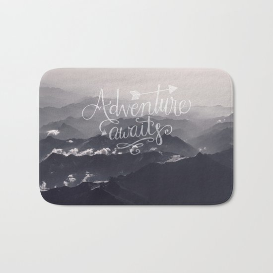 Adventure awaits Mountain View Typography Bath Mat