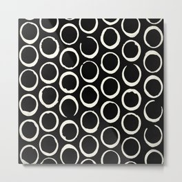 Polka Dots Circles Tribal Cream on Black Metal Print