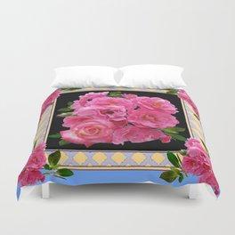 BABY BLUE-CREAM PINK ROSE CLUSTER ART Duvet Cover