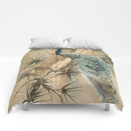 Peacock In The Pines Comforters