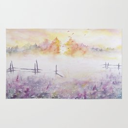 Early Morning Mist Watercolor Painting Rug