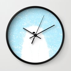 Its A Polar Bear Blinking In A Blizzard - Blue Wall Clock