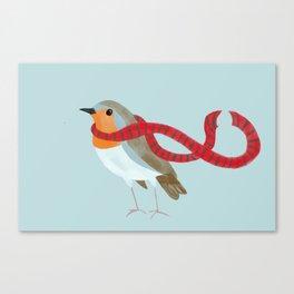 European Robin with scarf Canvas Print