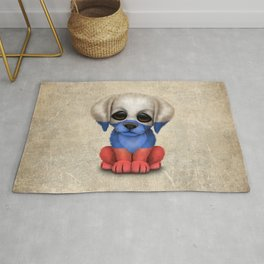 Cute Puppy Dog with flag of Russia Rug
