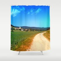 hiking Shower Curtains featuring Another lonely hiking trail by Patrick Jobst