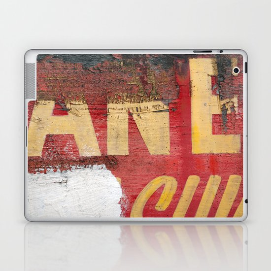 Yellow letters on red Laptop & iPad Skin