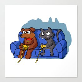 cat and dog playing videogame at home Canvas Print
