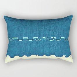 Blue Yellow Abstract Ocean Wave Pattern Rectangular Pillow