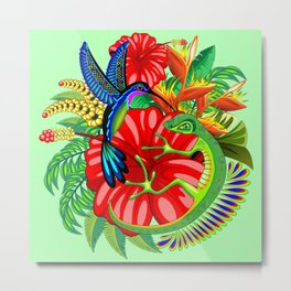 The Lizard, The Hummingbird and The Hibiscus Metal Print