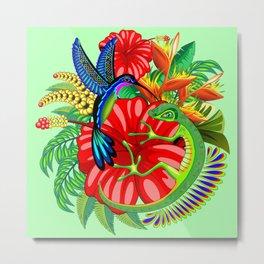 The Lizard, The Hummingbird and The Hibiscus Metal Print