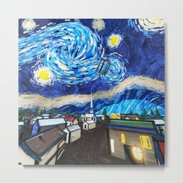 Tardis Art Starry City Night Metal Print