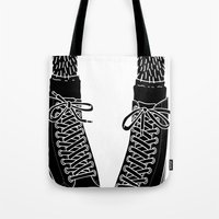 chuck Tote Bags featuring Chuck Feet by T M Addison