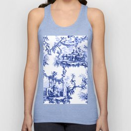 Blue Chinoiserie Toile Unisex Tank Top