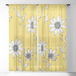 Wildflower line drawing | Botanical Art Sheer Curtain