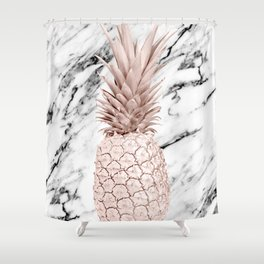 Rose Gold Pineapple on Black and White Marble Shower Curtain