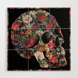 Skull and Flowers Wood Wall Art